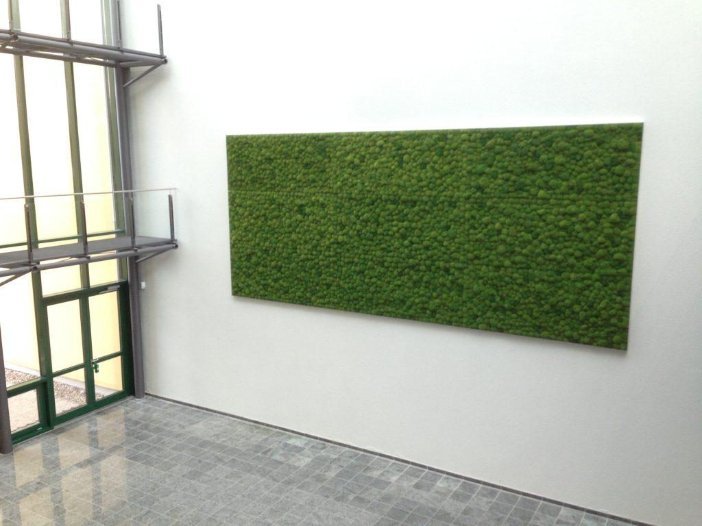 Eine Mooswand ist pflegeleicht und verbessert die Akustik in großen Räumen.